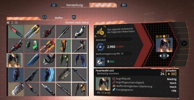 Hier die Werte des Feuerteufels (Mk. III). Besonders schön ist die hohe Waffenfertigkeiten-Skalierung.