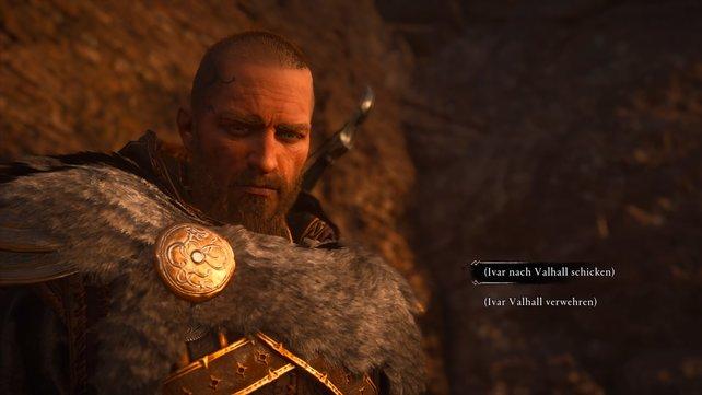 Nach dem Kampf müsst ihr nun entscheiden, ob ihr ihm siene Axt in die Hand geben und somit nach Valhalla schickt, oder nicht.
