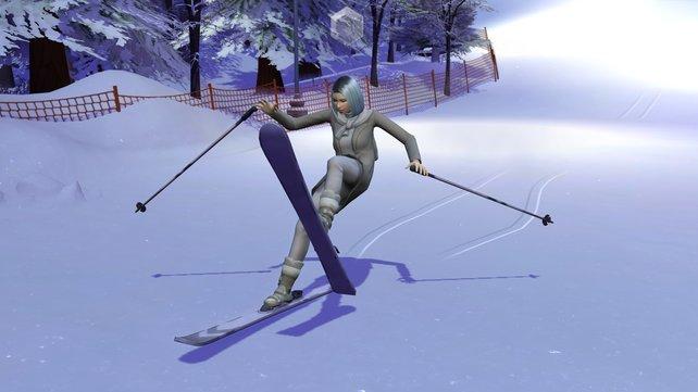 Und deswegen liebe Simmer, tragt beim Skifahren immer einen Helm. Denn gerade zu Beginn wird euer Sim oft mit dem schneebedeckten Boden Bekanntschaft machen.