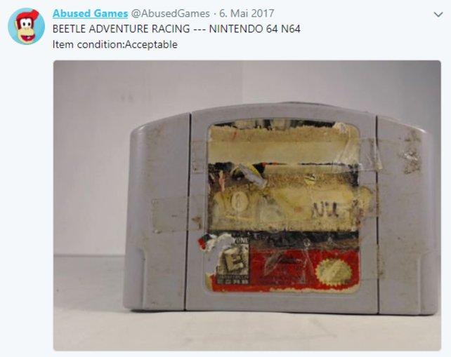 Diese N64 Cartridge von Beetle Adventure Racing sieht so aus, als ob sie in ein Museum gehört.