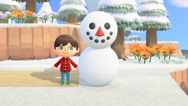 So sieht ein perfekter Schneemann in Animal Crossing: New Horizons aus.
