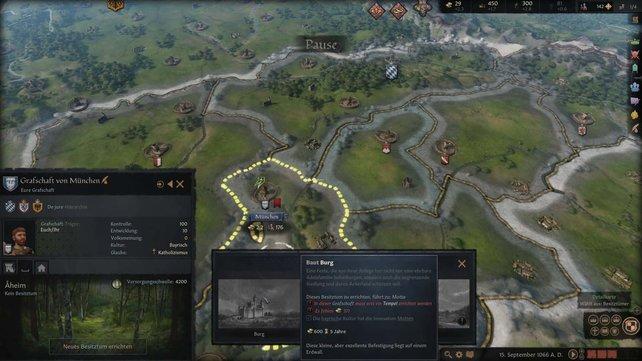 Infos zu den Baukosten und der Dauer des Vorhabens findet ihr in Crusader Kings 3 im Bau-Menü.