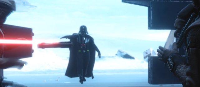 Darth Vader lässt sein Lichtschwert fliegen.