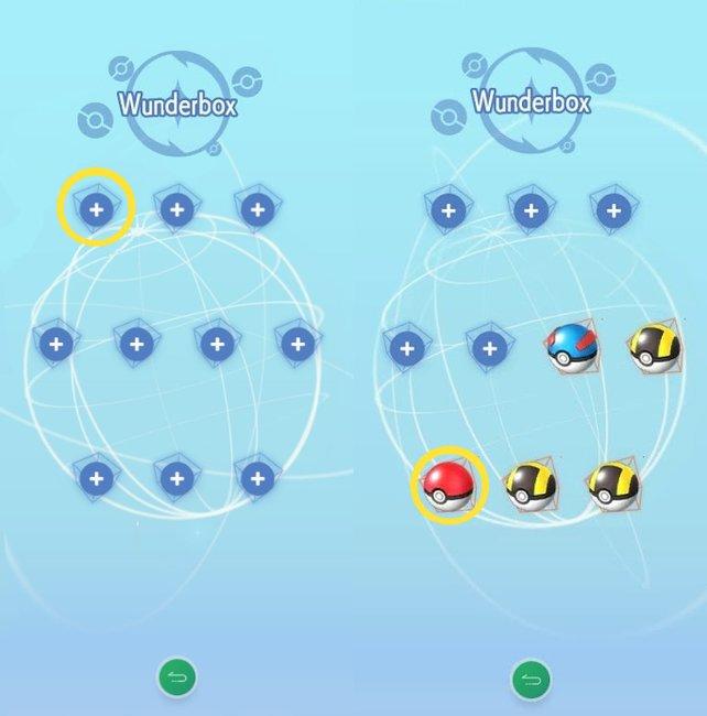 Füllt eure Wunderbox und sucht euch ein Pokéball eures Gegenspielers aus.