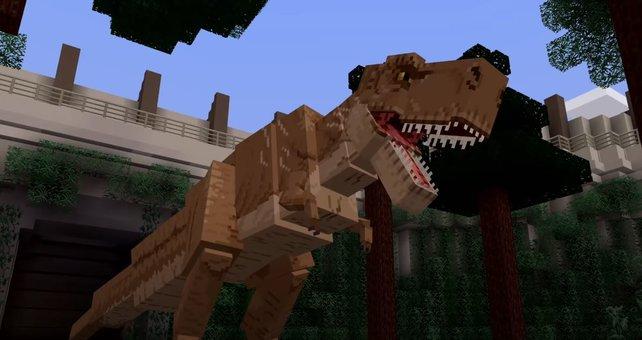 Blockig, aber immer noch gefährlich: Minecraft-Spieler können es nun mit einem T-Rex aufnehmen.