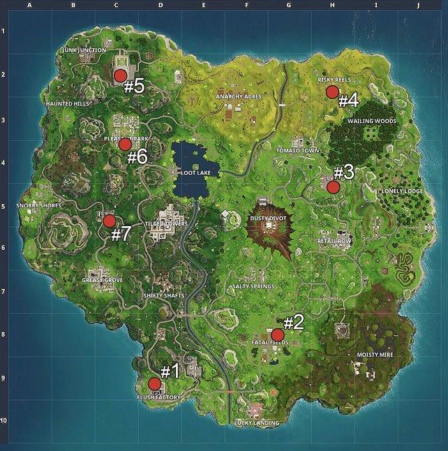 Hier findet ihr die 7 Spielfelder für die Herausforderung in Fortnite - Battle Royale!