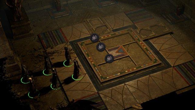 Bei dem Rätsel müssen in die Fassungen Bodenplatten eingesetzt werden.
