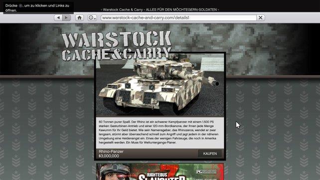 Diesen Rhino-Panzer könnt ihr sowohl in GTA 5 als auch im Online-Modus kaufen.