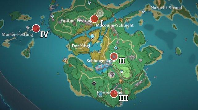 Die Karte zeigt euch die Standorte der vier Quests.