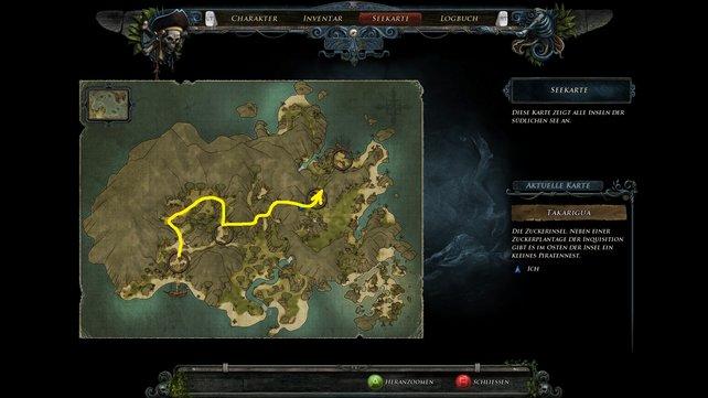 Unsere Karte zeigt euch den Weg zu den Piraten.