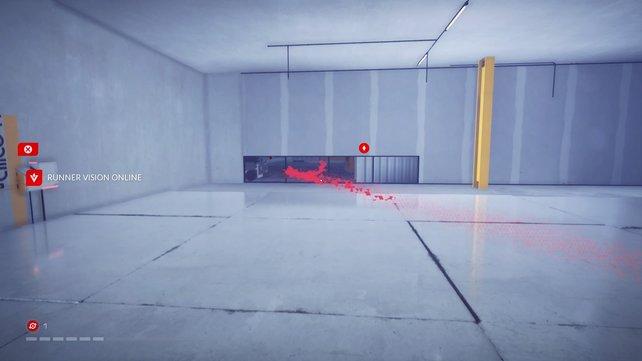 Rote Linien und Objekte zeigen euch den Weg zum Ziel.