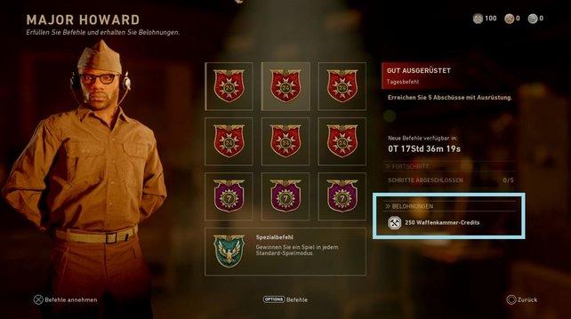 Schnappt euch stets die Befehle in Call of Duty - WW2, die euch Waffenkammer-Credits spendieren.