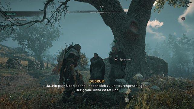 Unterm Baum beim Vorposten trefft ihr auf Gudrum und Soma, um den finalen Angriff auf König Aelfred zu starten.