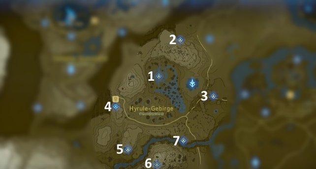 """Die Karte mit den Schreinen der Region """"Turm der Hügel""""."""