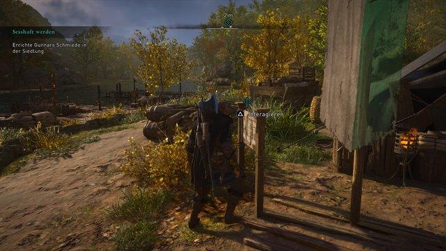 """Am Schluss der Mission """"Sesshaft werden"""" gilt es für euch, Gunnars Schmiede auszubauen, damit ihr diese nutzen könnt."""