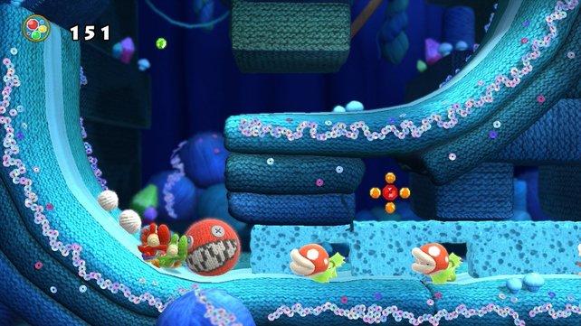 Mit dieser roten Flauschkugel durchbricht Yoshi Wände und erledigt lästige Piranha-Blumen.