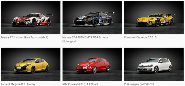 Das sind die sechs Fahrzeuge, die ihr als Bonus in der Steelbook Edition von Gran Turismo Sport erhaltet. (Bildquelle: gran-turismo.com)