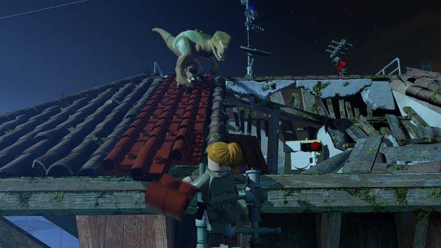 Wie in der Filmvorlage auch machen die Dinos kurzzeitig die Stadt unsicher.