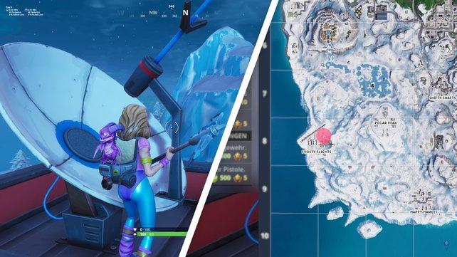 Besucht Frosty Flights und tanzt auf dem Flugkontrollturm, um die Herausforderung abzuschließen.