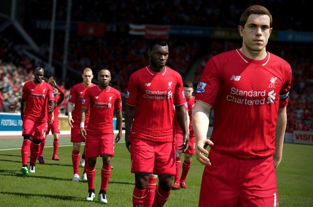 Die Spieler von Liverpool betreten das Feld.