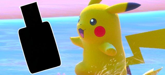 Pikachu surft auch schon freudig zum Foto-Spaß.