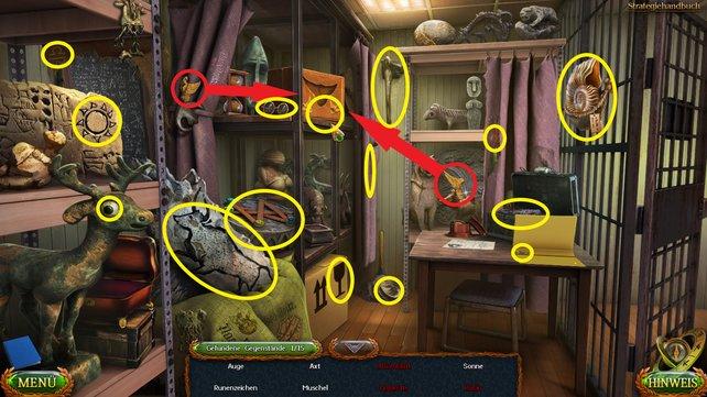 An den gelb-markierten Stellen findet ihr die 15 Gegenstände. Um die Kiste oben zu öffnen, müsst ihr die beiden Adlershälften einsetzen.