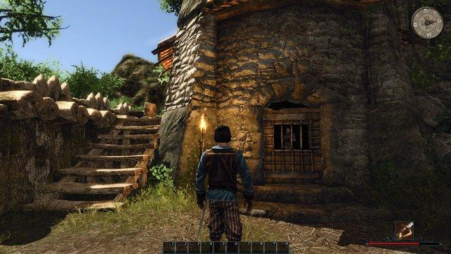 """In diesem Turm ist Tahana eingesperrt. Rechts die Treppe hoch und ihr findet das Buch """"Frühe Schlachten"""", das die Quest """"Die Kanonenkugel"""" startet."""