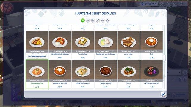 Hier seht ihr eine kleine Auswahl an leckeren Gerichten, die ihr für euer Restaurant auswählen könnt.