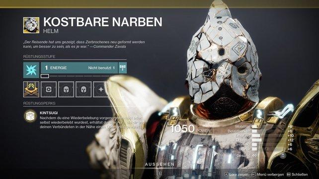 Exotischer Helm für Titanen: Kostbare Narben.