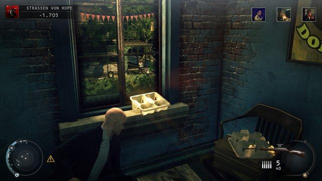 Von diesem Fenster im Donut-Laden aus kann man einen Kopftreffer landen.
