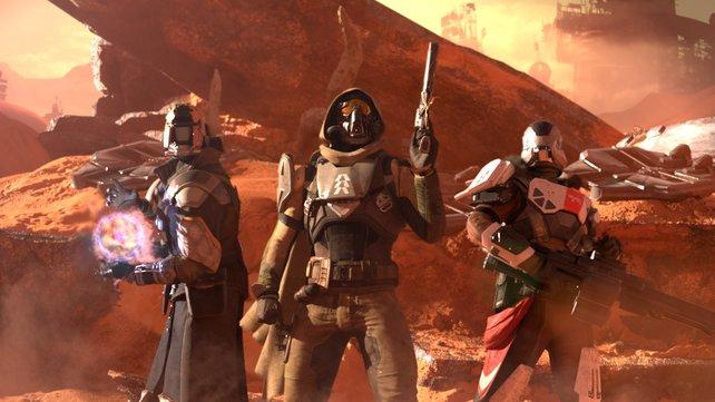 Der Warlock, Titan und Jäger vereint in einem Bild.