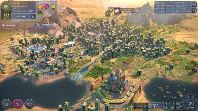 In späteren Zeitaltern werden Städte zu richtigen Metropolen voller Spezialbezirke und Weltwunder.