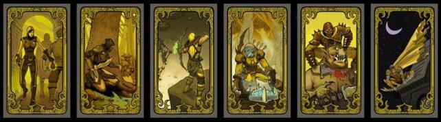 Alle Raffinesse-Schicksalskarten in einer Reihe.
