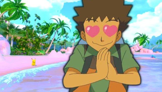 Rocko aus Pokémon zeigt mit seinen Herzaugen, wie sehr er sich auf das neue Pokémon-Spiel freut.