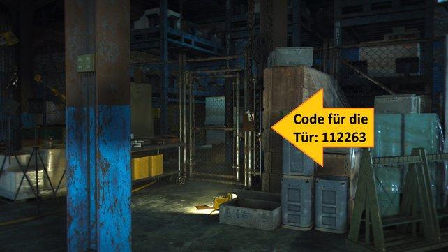 Die gezeigte Tür öffnet ihr mit dem Zahlencode 112263.