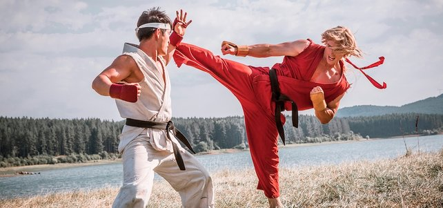 Trainieren im Film: Ryu (links) und sein Kumpan Ken.