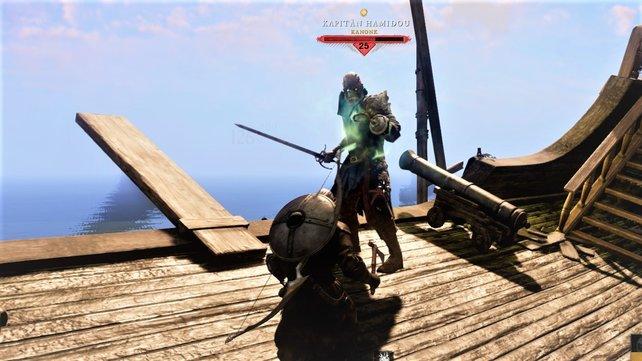 Bei der Gladiatorenprüfung müsst ihr Kapitän Hamidou im Kampf besiegen.
