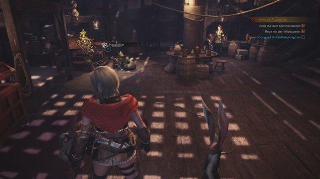 Habt ihr in Monster Hunter World ein Haustier fangen können, findet es ein neues Heim in eurem Raum in Astera.
