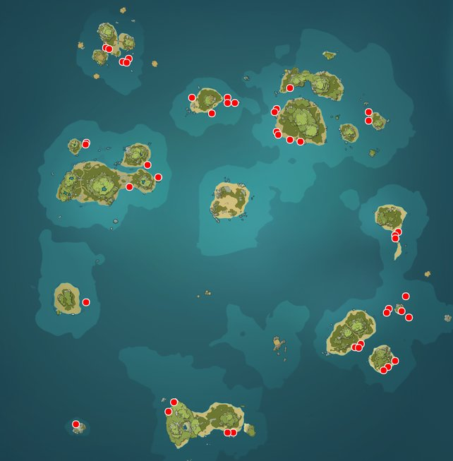 Alle Meereslackporling-Fundorte auf der Goldapfelarchipel-Karte.