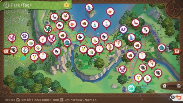 """Karte mit Pokémon-Fundorten auf der Strecke """"Park (Tag)""""."""