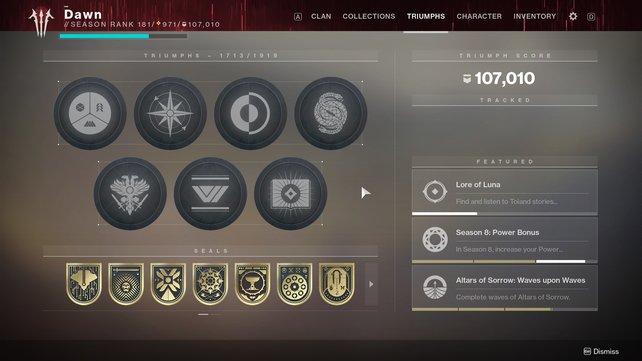 Einer von zwei Beweisen seitens Dawncraftian: Sieben goldene Siegel. Auf der zweiten Seite des Triumph-Bildschirms folgen noch sechs weitere.