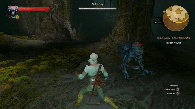 Kurzzeitig spielt ihr als Ciri, die schneller kämpft als ihr trägerer Ziehonkel Geralt.