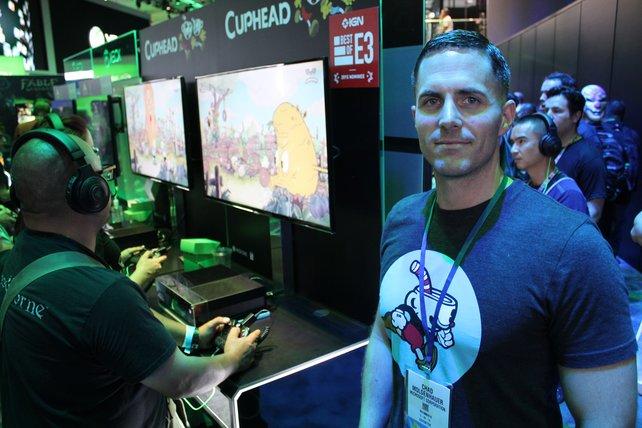 Entwickler Chad Moldenhauer zeigt sein Spiel am Microsoft-Stand.