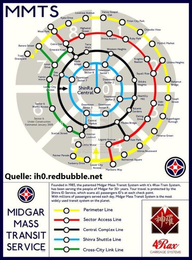 Streckenplan des Schienenersatzverkehrs der Oberstadt von Midgar in Final Fantasy 7.