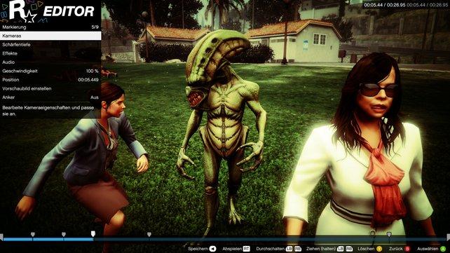 Für euren eigenen Film dreht ihr Szenen und bearbeitet sie nach. Lüsterne Aliens im Park? Kein Problem!