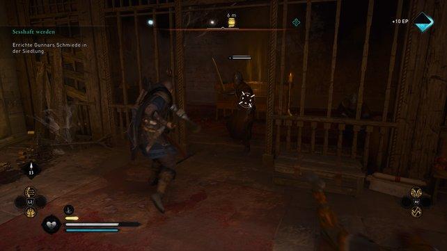 Erschlagt die Wachen im Kloster und plündert die großen goldenen Truhen, um an die Baumaterialien zu kommen.