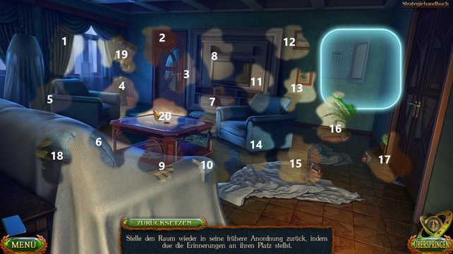 Ihr müsst die 20 einzelnen Partien an die richtigen Stellen im Wohnzimmer verschieben, um dieses Minispiel zu lösen.