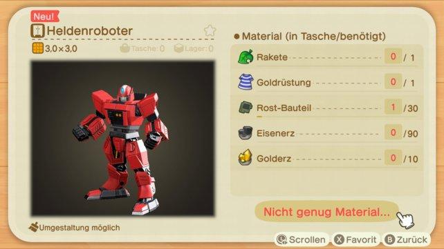 Wenn ihr diesen Roboter in Animal Crossing: New Horizons haben wollt, braucht ihr Rost-Bauteile.