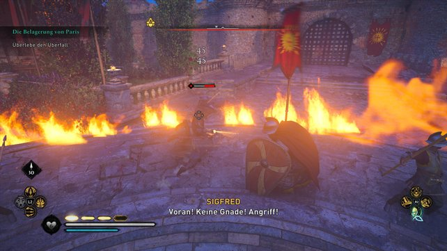 Von den Flammen eingeschlossen kommt es hier nur darauf an, zu überleben und nicht darauf, viele Gegner zu töten.