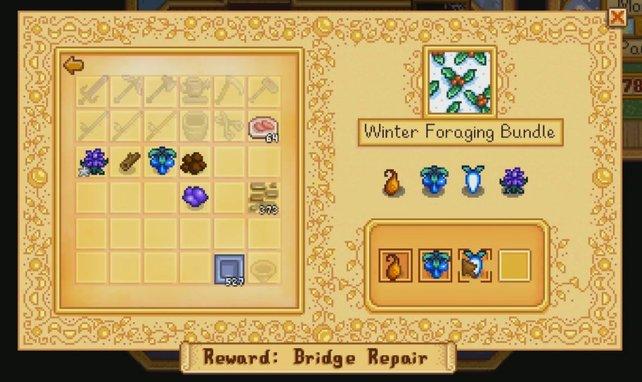 Wenn ihr die Bundles im Community Center vervollständigt, dann erwarten euch nützliche Rewards/Belohnungen.